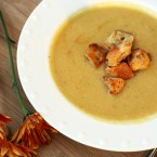 Acorn squash and pear soup with cinnamon sugar croutons recipe. The best flavors of fall in one budget-friendly recipe.