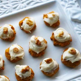 Moist pumpkin cookies with cream cheese frosting recipe from Cheap Recipe Blog. No eggs, super easy and cheap to make!