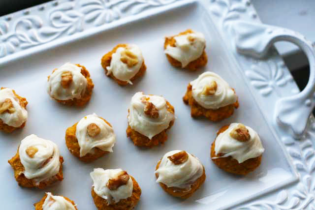 Moist pumpkin cookies with cream cheese frosting recipe. They will melt in your mouth!