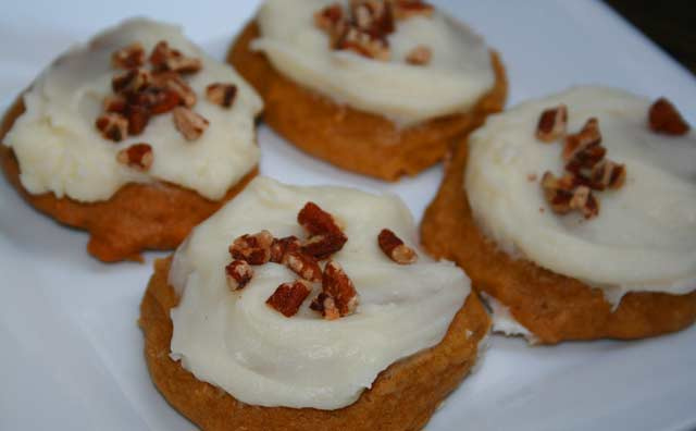 (Really) moist pumpkin cookies with cream cheese frosting. Click through for recipe.