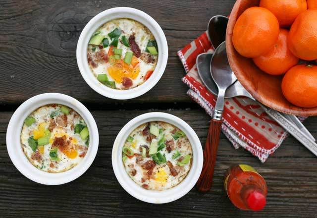 Tabasco baked eggs recipe. A little bit of spice goes a long way!