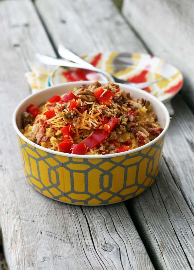 Spicy cornbread salad. It's shockingly delicious. Click through for recipe.