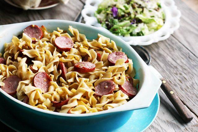 HOTDISH! Here's a new recipe: Ring bologna hotdish, with sweet corn and cream of mushroom soup.