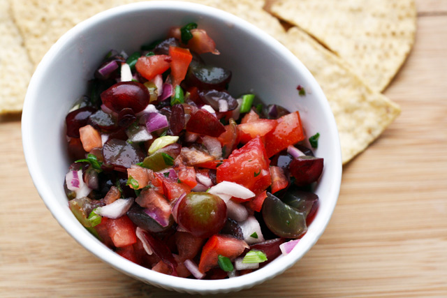 Grape salsa. Time to think beyond pineapple or mango salsa. Click through for recipe.
