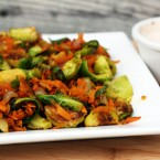 Sweet potato and brussels sprouts hash with chipotle crema recipe