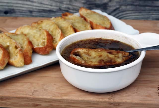 French onion soup, with cheese toasts. Everyone gets their own cheese-topped crostini. Click through for recipe!