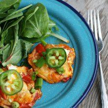 Mini enchilada stacks: Save money by using up leftovers. And make something yummy!