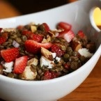 Cheap balsamic strawberry lentil salad recipe. A unique recipe to make when strawberries are in season!