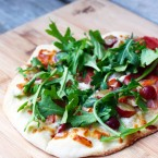 Grape, prosciutto, and arugula flatbread recipe