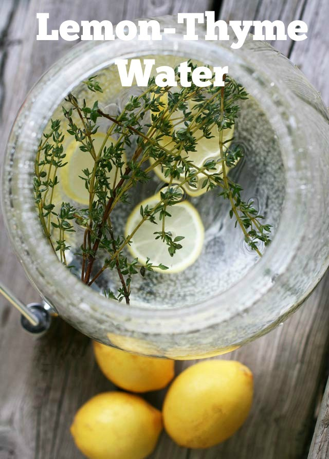 Water infused with lemon and thyme. So refreshing! Make infused water at your next get-together. Click through for MORE recipes.