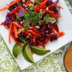 Thai peanut salad recipe: Cabbage based salad with a flavorful peanut dressing. Click through for instructions!