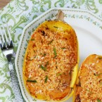 Cheese and tomato stuffed spaghetti squash recipe