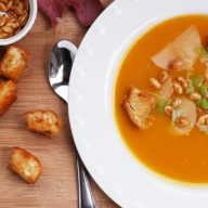 Roasted butternut squash soup with paprika croutons: A copycat recipe from Wolfgang Puck Express.