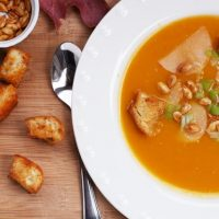 Roasted Butternut Squash Soup With Paprika Croutons