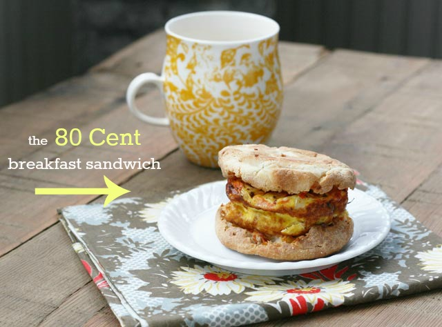 The 80 Cent breakfast sandwich that tastes GREAT! With baked egg patties. Repin to save.