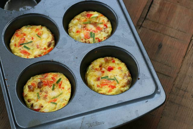 Individual baked egg patties for The Ultimate Cheap Breakfast Sandwich, which costs just 80 cents! Click through for recipe.