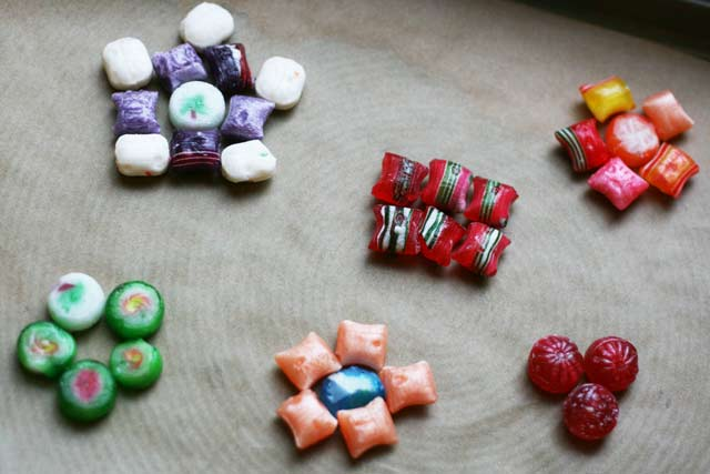 Melted Christmas candy ornaments