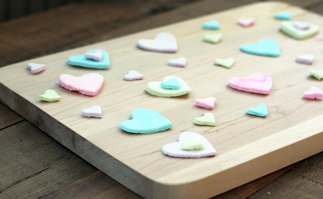 Homemade candy hearts: Make your own conversation hearts at home! Use an edible pen to add a message.