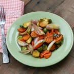 Honey mustard roasted vegetables recipe. A cheap and nourishing side dish or meal.