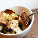 Challah bread pudding with chocolate and caramel sauce