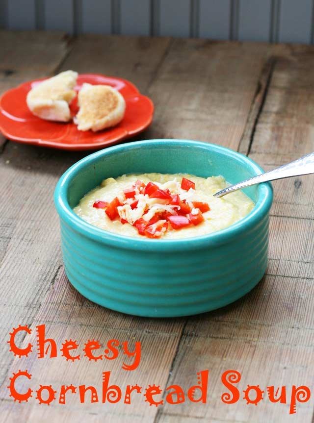 Cheesy cornbread soup: A copycat recipe from Starboard Market in Clear Lake, Iowa. Repin to save!