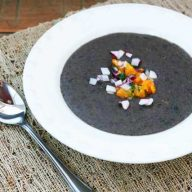 Black bean soup recipe with orange jalapeno salsa