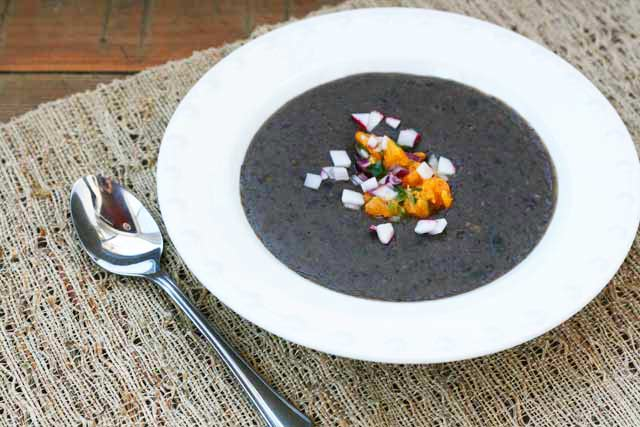 Black bean soup with orange-jalapeno salsa: A super cheap but delicious, part of the $10 Food Day Series.