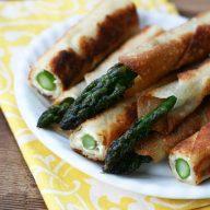 Asparagus cream cheese wonton fries