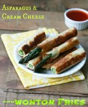 Asparagus-cream cheese wonton fries recipe