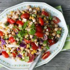Summery kitchen sink salad recipe with creamy BBQ dressing