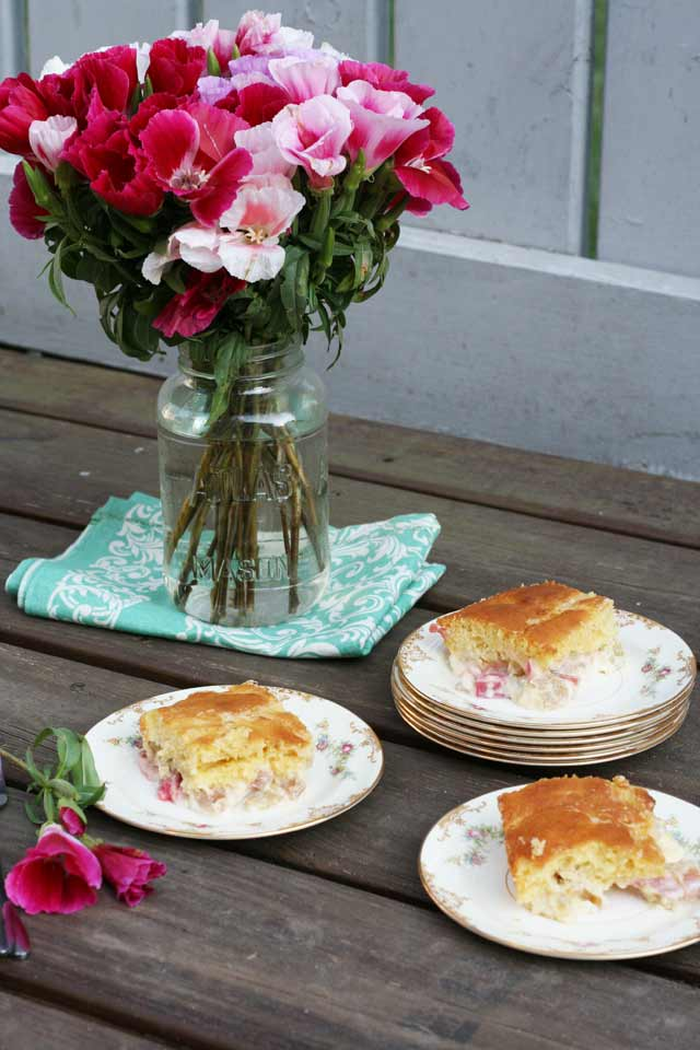 Rhubarb custard cake recipe. This vintage cake recipe will take you back to the 1950's! Repin to save.