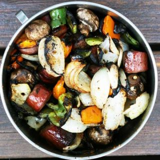 Grilled vegetable and ring bologna kebabs recipe