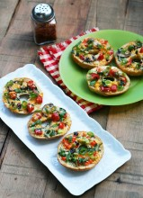 Thin crust bagel pizzas, from Cheap Recipe Blog