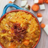 Mashed carrot potatoes with bacon recipe, from Cheap Recipe Blog