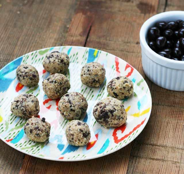 Raw espresso bean cookie dough bites recipe, from Cheap Recipe Blog