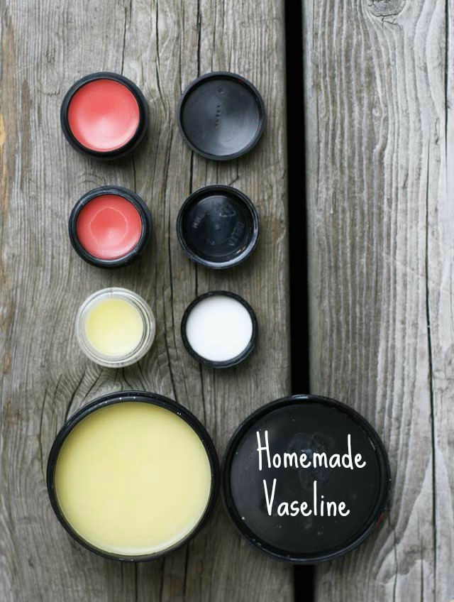 Homemade Vaseline (and tinted lip balm) recipe from Cheap Recipe Blog. Click through for instructions.