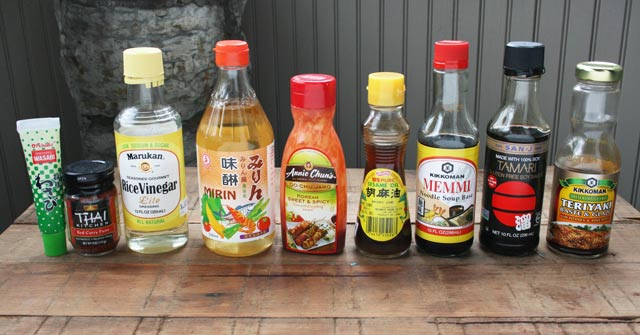 Essential Asian sauces. These 9 sauces/condiments can be used to make pretty much any basic Asian dish. I use them All The Time. Click through for details.