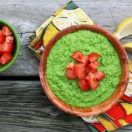 "A recipe for green pea ""guacamole"" - a new twist on traditional guacamole."