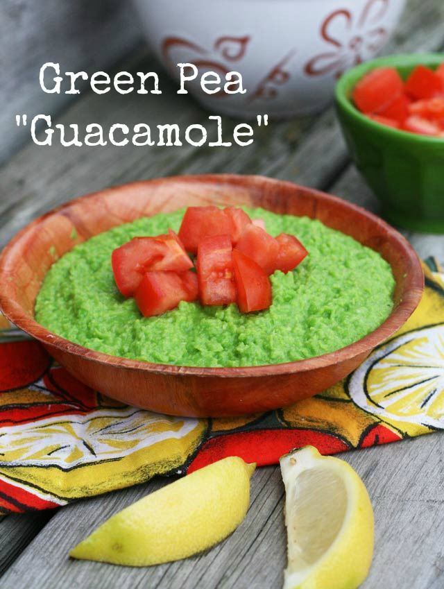 Green pea guacamole, a lighter take on traditional guac.