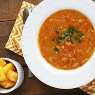 Mango habanero chicken chili recipe. It's really spicy. Save to your soup boards!