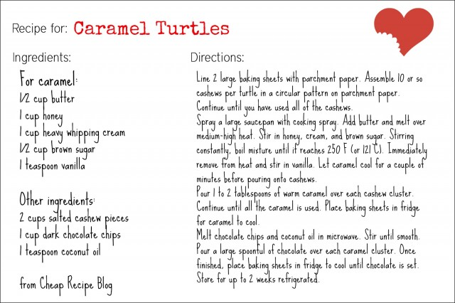 Homemade caramel turtles recipe card