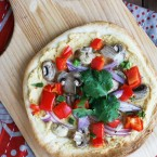 Veggie and hummus pizza, from Cheap Recipe Blog