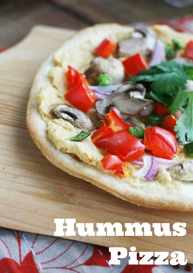Hummus pizza recipe, from Cheap Recipe Blog