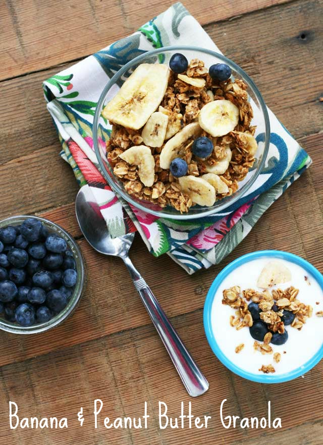 Banana and peanut butter granola recipe, from Cheap Recipe Blog