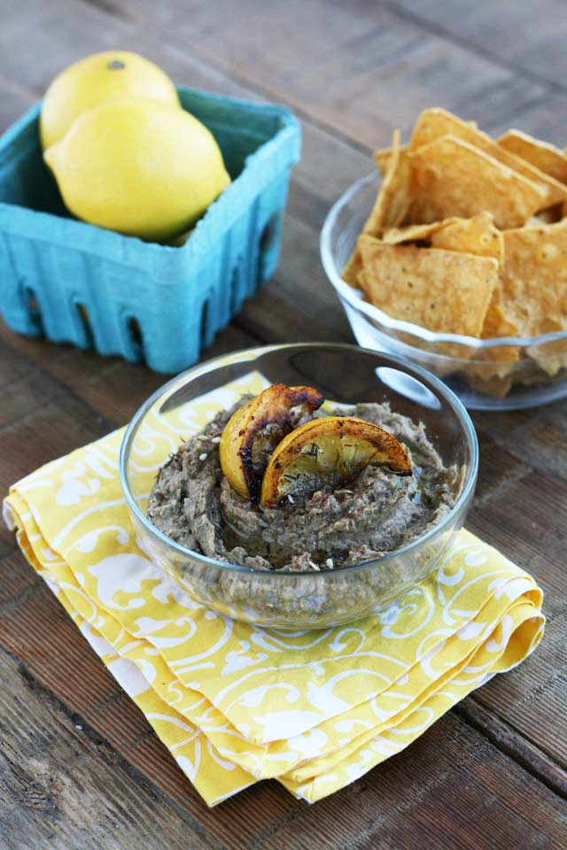 Lentil dip with fried lemons: Frying lemons brings down the acidity and brings out the sweetness of the fruit.