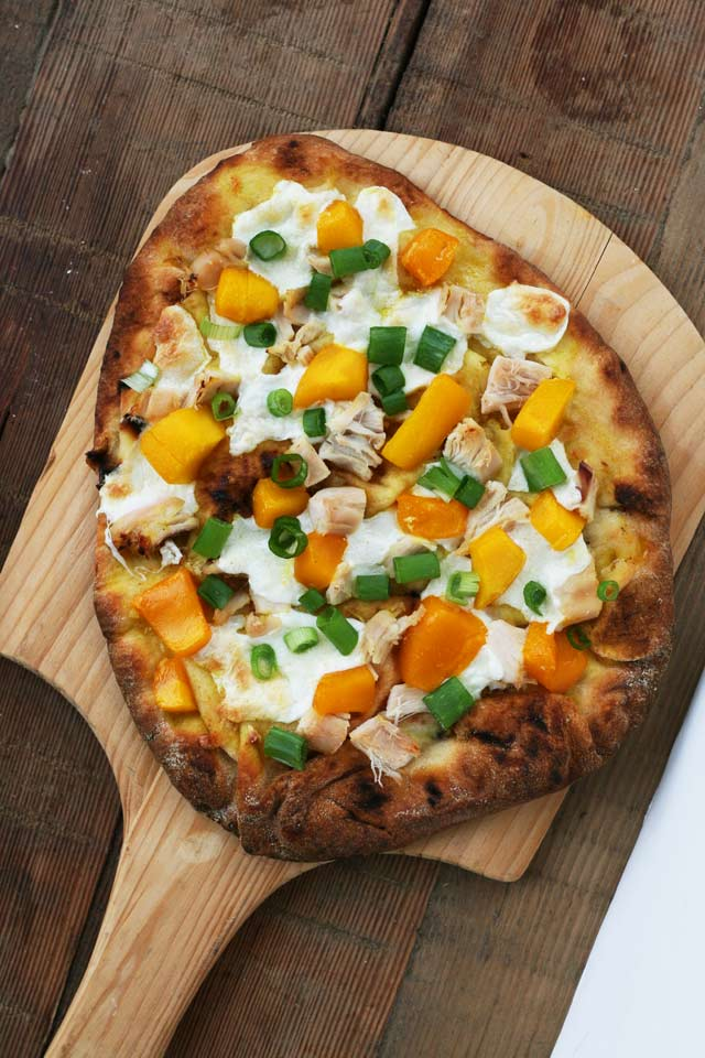 Mango chicken naan bread pizza, from Cheap Recipe Blog