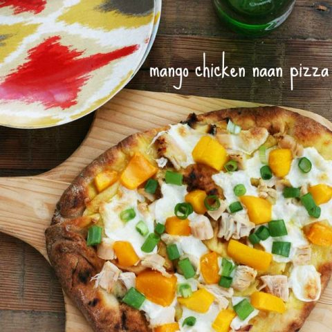 Mango chicken naan bread pizza, from Cheap Recipe Blog