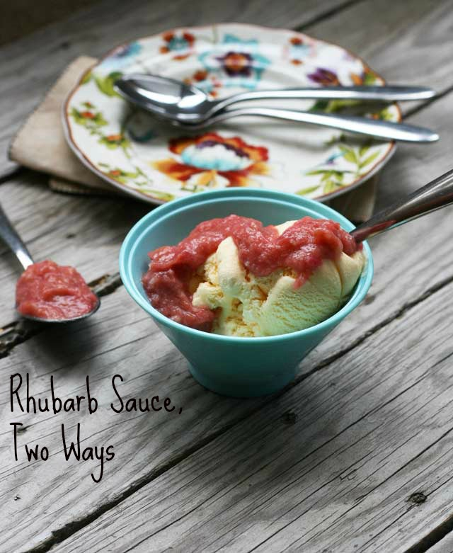 Rhubarb sauce, two ways, from Cheap Recipe Blog