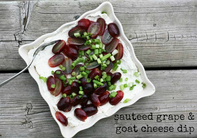 Sauteed grape and goat cheese dip, from Cheap Recipe Blog
