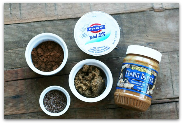 Ingredients for chocolate-peanut butter Greek yogurt dip. Click through for recipe!